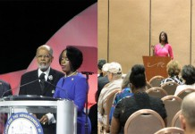 NAACP leadership at the 2014 national convention in Las Vegas (left). Deneen Borelli's FreedomWorks flop near the NAACP convention.
